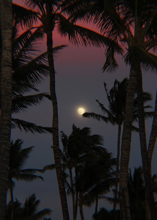 Full Moon Greeting Card featuring the photograph Moon Over Hawaii by Raquel Amaral
