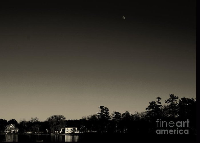 New England Greeting Card featuring the photograph Moon Over Silver Lake by Lennie Malvone