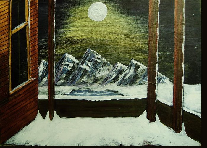 Mountains Greeting Card featuring the painting Moon Over The Mountains by Gordon Wendling