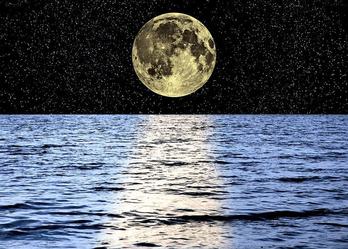 Moon Greeting Card featuring the photograph Moon Over The Sea, Composite Image by Victor De Schwanberg