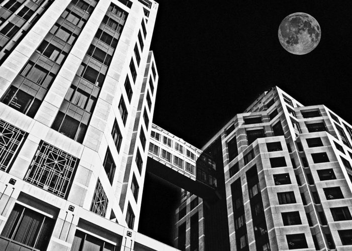Moon Greeting Card featuring the photograph Moon Over Twin Towers 2 by Samuel Sheats
