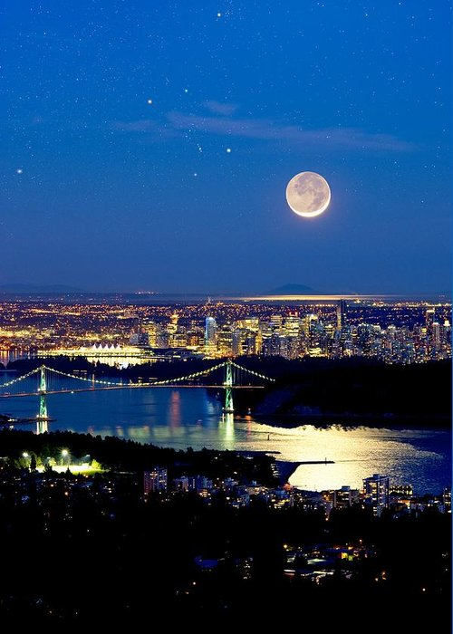 Vancouver Greeting Card featuring the photograph Moon Over Vancouver, Time-exposure Image by David Nunuk
