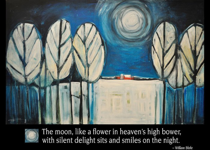 Moon Greeting Card featuring the painting Moon Quote Poster by Tim Nyberg