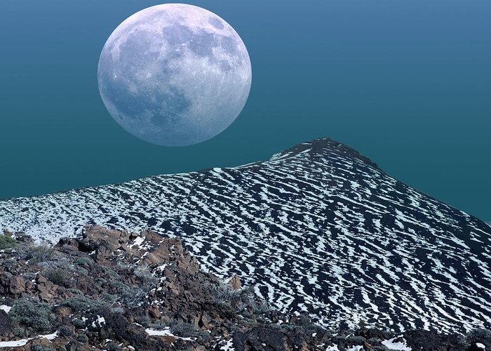 Moon Greeting Card featuring the photograph Moon-rise Over A Volcano by Detlev Van Ravenswaay