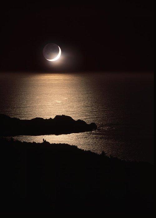 Moon Greeting Card featuring the photograph Moonlit Coast by David Nunuk