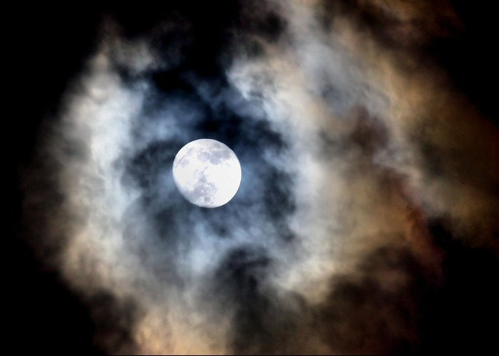 Moon Greeting Card featuring the photograph Moonshine by Karen Scovill