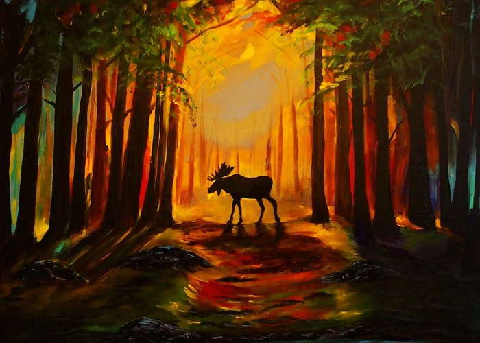 Moose Greeting Card featuring the painting Moose Sunset by Leslie Allen