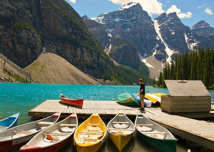 Canoes Greeting Card featuring the photograph Moraine Lake - Banff National Park - Canoes by Andre Distel