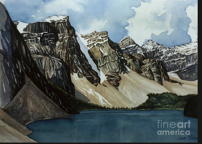 Moraine Lake Greeting Card featuring the painting Moraine Lake by Scott Nelson