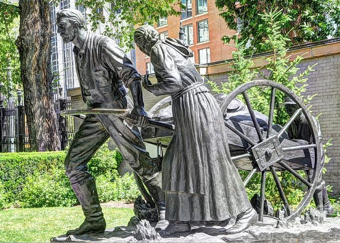 Mormon Greeting Card featuring the photograph Mormon History - Hand Cart Statue by Gary Whitton