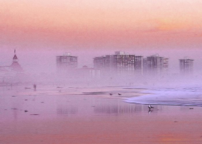 Sunrise Sun Seagull Bird Beach Ocean Waves Hotel Building Coast Sand Water Fog Mist Misty Spume Haze Sky Color Colorful Painting Expressionism Impressionism Art Seascape Landscape Skyline Greeting Card featuring the painting Morning At The Beach by Steve K