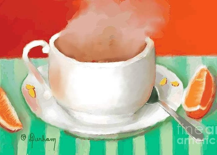 Cup Greeting Card featuring the digital art Morning Coffee by Dessie Durham