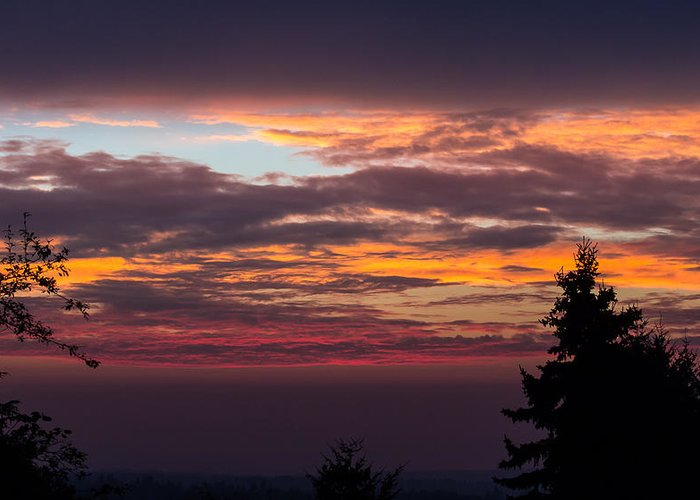 Landscape Greeting Card featuring the photograph Morning Fire by Matt Lichy
