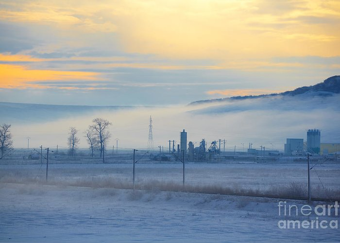 Morning Greeting Card featuring the photograph Morning Landscape In Winter by Gabriela Insuratelu
