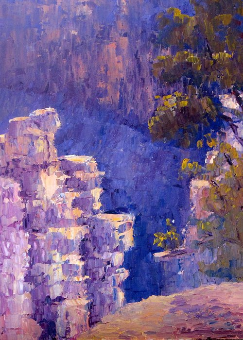 Grand Canyon Greeting Card featuring the painting Morning Light by Terry Chacon