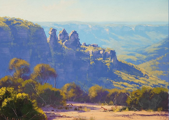 Three Sisters Greeting Card featuring the painting Morning Light Three Sisters by Graham Gercken