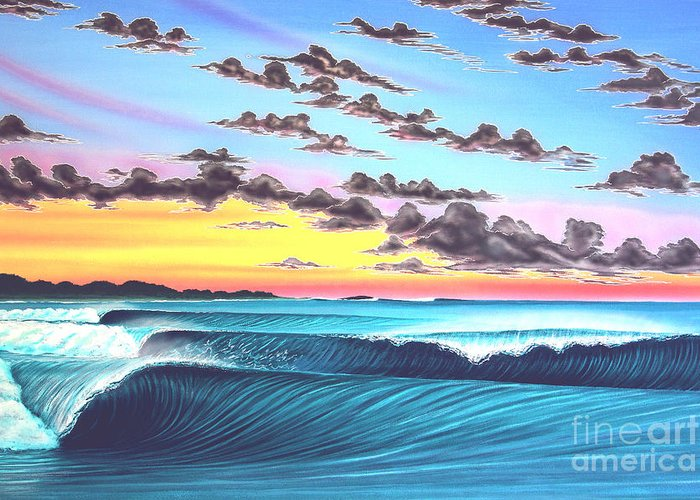 Surf Greeting Card featuring the painting Morning Macaronis - Indonesia by Marty Calabrese