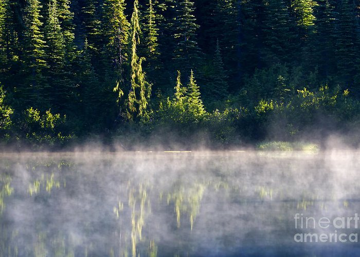 Lake Greeting Card featuring the photograph Morning Mist by Mike Dawson