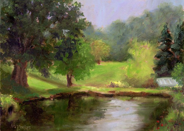 Morning On Gael'spond Greeting Card featuring the painting Morning On A Pond by Mary Phelps