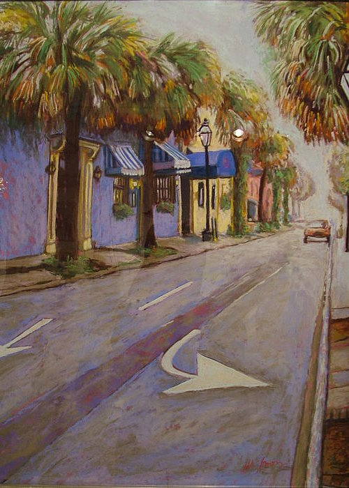 Landscape Greeting Card featuring the painting Morning On King Street Charleston Sc by Hillary Gross