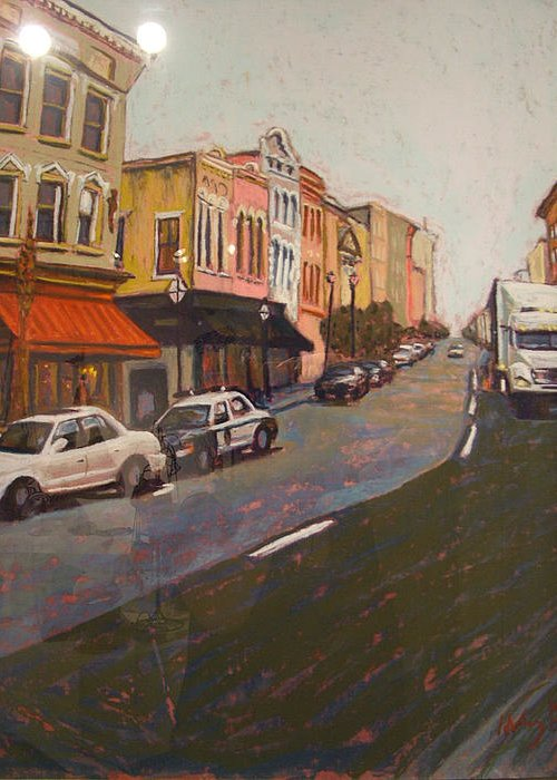 Landscape Greeting Card featuring the painting Morning On King Street Charleston Sc II by Hillary Gross
