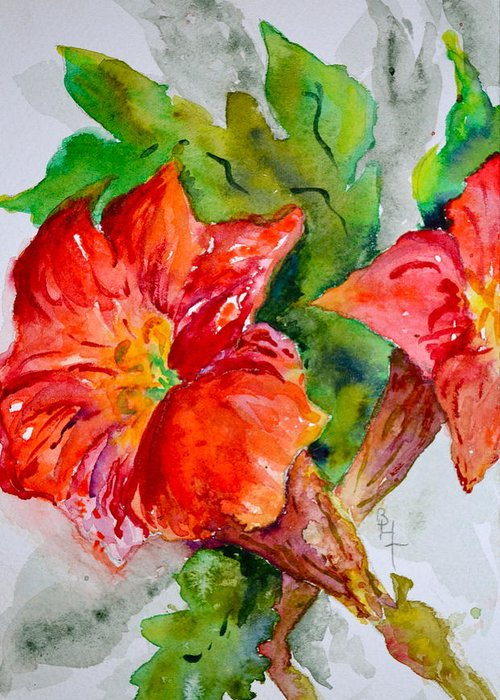Watercolor Greeting Card featuring the painting Morning Revelry by Beverley Harper Tinsley