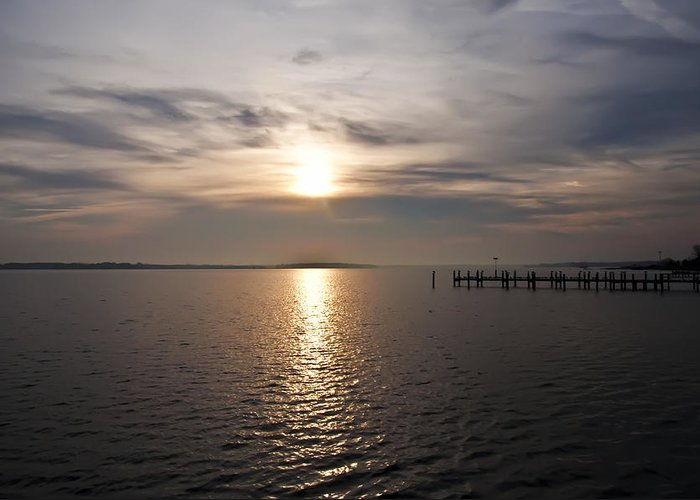 Morning Skies On The Chesapeake Greeting Card featuring the photograph Morning Skies On The Chesapeake by Bill Cannon