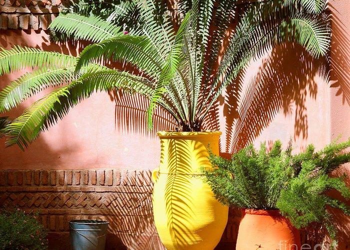 Moroccan Garden Greeting Card featuring the photograph Moroccan Garden by Susan Wall