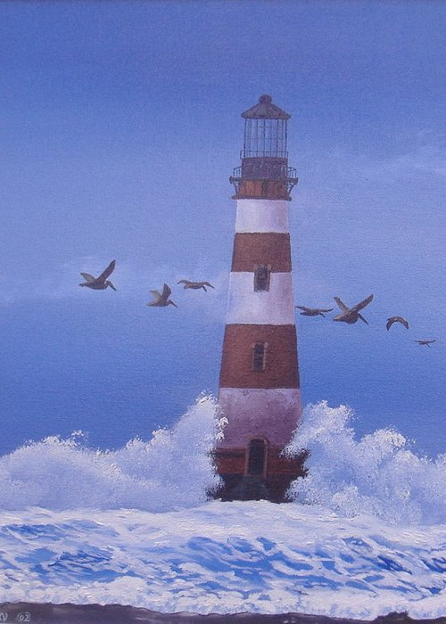 South Carolina Lighthouse Paintings Greeting Card featuring the painting Morris Island Lighthouse by Michael Allen