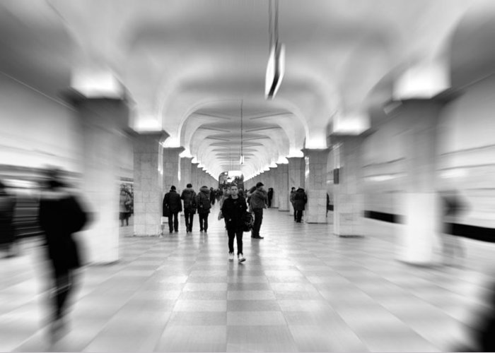 Adult Greeting Card featuring the photograph Moscow Underground by Stelios Kleanthous