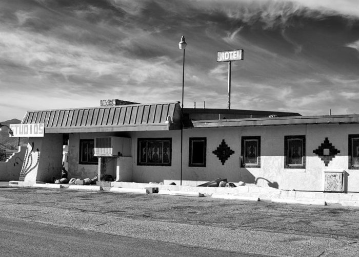 Dhs Greeting Card featuring the photograph Motel Studios Bw by William Dey