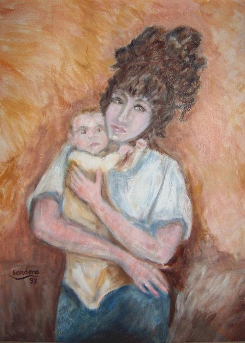 Mother And Child Portrait Greeting Card featuring the painting Mother and Child by Joseph Sandora Jr