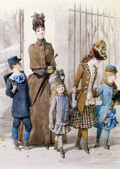 Mother Greeting Card featuring the painting Mother And Children In Walking Dress by Jules David