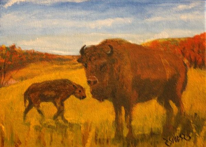 Buffalo Greeting Card featuring the painting Mother And Son by Rick Stoesz