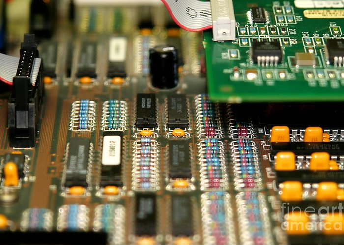 Technology Greeting Card featuring the photograph Motherboard by Henrik Lehnerer