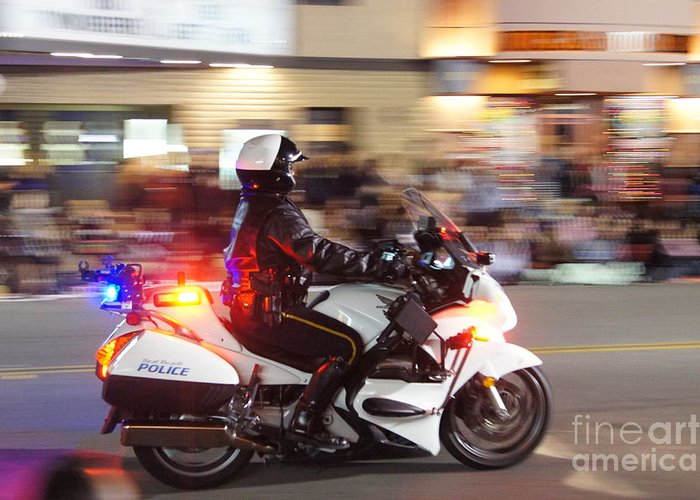 Police Greeting Card featuring the photograph Motorcycle Police Officer by Sergio Cruz