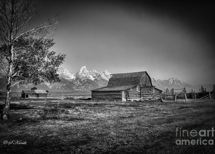 Grand Tetons Greeting Card featuring the photograph Moulton Barn Bw by Sue Karski