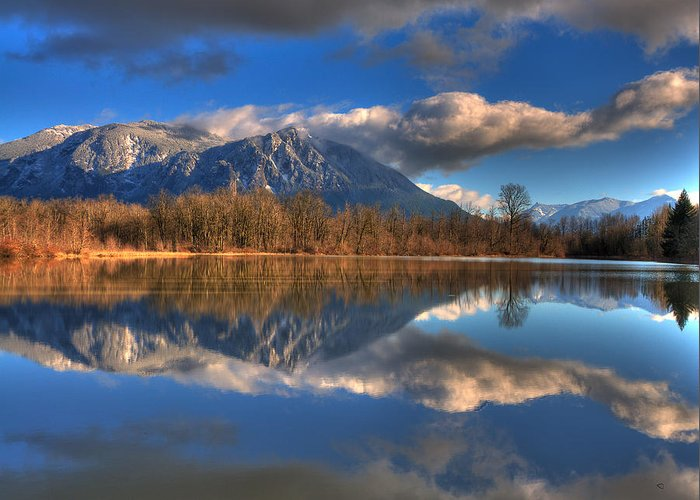 Mount Si Greeting Card featuring the photograph Mount Si Reflection by Scott Massey