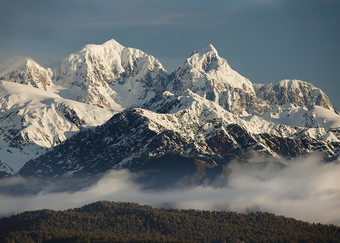 00438715 Greeting Card featuring the photograph Mount Tasman And Mount Cook Southern by Colin Monteath