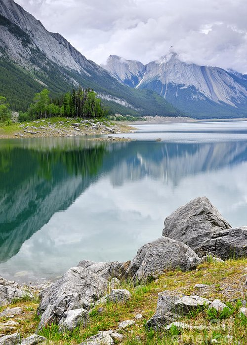 Jasper Greeting Card featuring the photograph Mountain Lake In Jasper National Park by Elena Elisseeva
