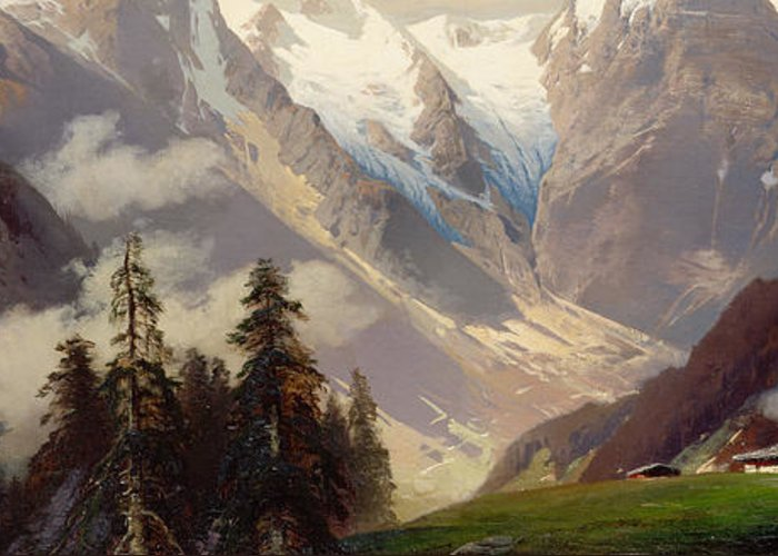 Mountain Landscape With The Grossglockner Greeting Card featuring the painting Mountain Landscape With The Grossglockner by Nicolai Astudin