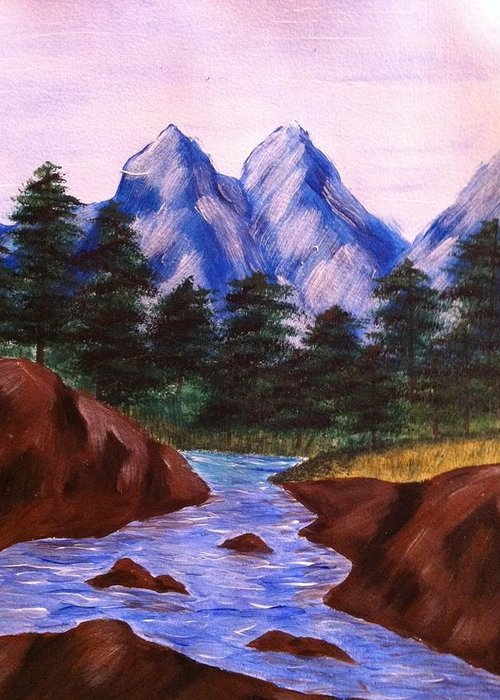 Acrylic Greeting Card featuring the painting Mountain Stream by Kimberly Hebert