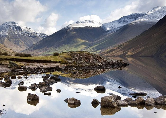 Cumbria Greeting Card featuring the photograph Mountains And Lake At Lake District by John Short