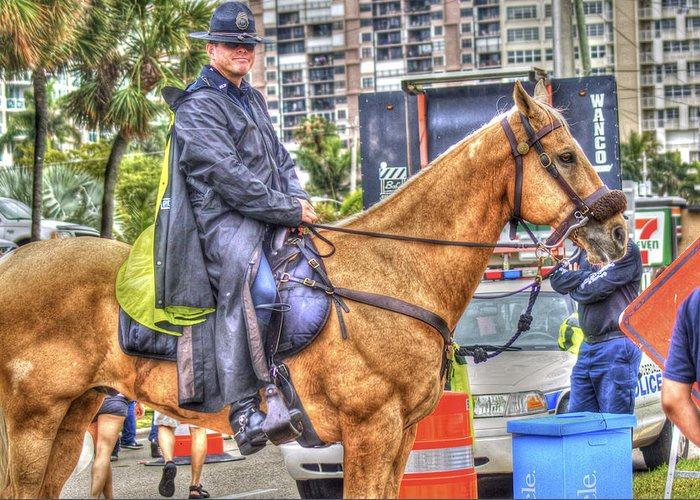 Mounted Police Greeting Card featuring the photograph Mounted Police by Dieter Lesche