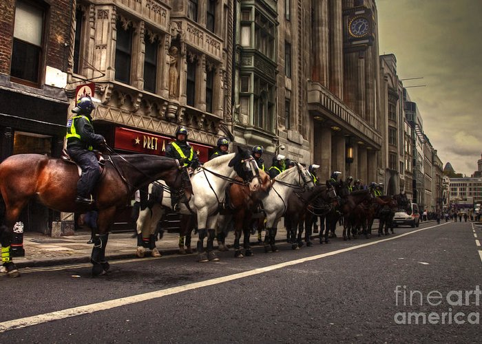 Mounted Greeting Card featuring the photograph Mounted Police by Rob Hawkins