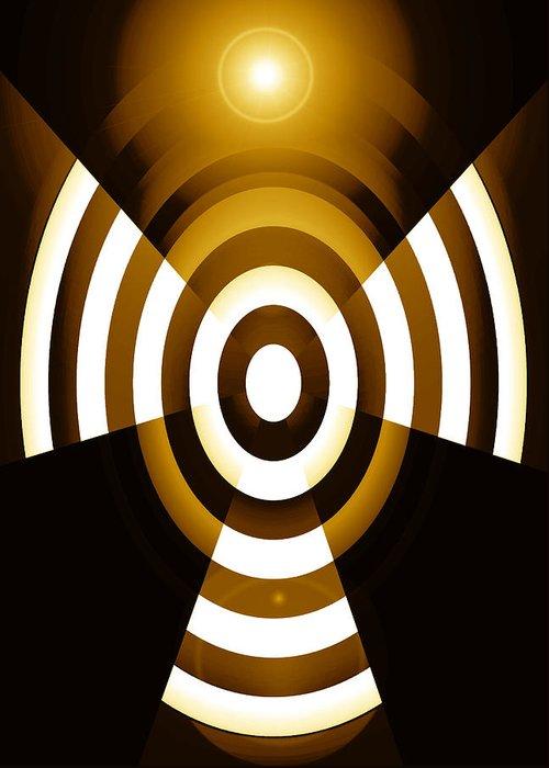 Moveonart! Global Gathering. Branch abstractguardianangelinyellow -- Digital Abstract Art By Artist Jacob Kane Kanduch -- Omnetra Greeting Card featuring the digital art Moveonart Abstractguardianangelinyellow by Jacob Kanduch