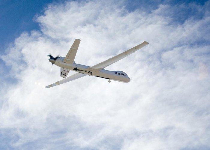Ikhana Greeting Card featuring the photograph Mq-9 Reaper Spyplane by Nasadfrc