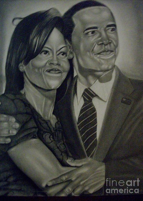President Greeting Card featuring the drawing Mr. And Mrs. Obama by Handy