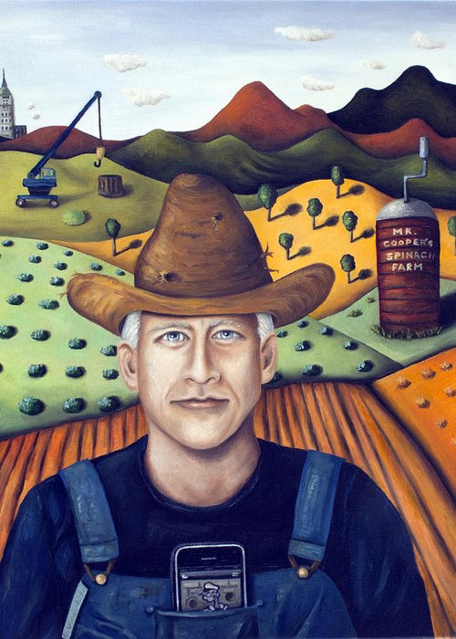 Anderson Cooper Greeting Card featuring the painting Mr Cooper's Spinach Farm by Leah Saulnier The Painting Maniac
