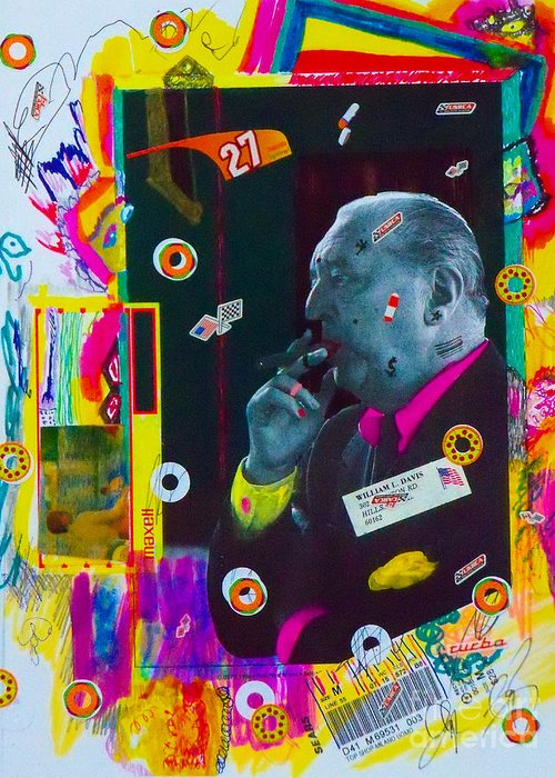 Mixed Media Collage. Greeting Card featuring the mixed media Mr. Mcgoo by Bill Davis